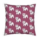 Bulldog Dog Dogs English White Throw Pillow Cover w Optional Insert by Roostery