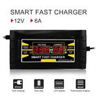 12V 6A LCD Smart Fast Lead-acid Battery Charger Car Motorcycle US/EU Plug H6C5
