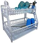 Hobby Life 2 Tier Dish Drainer Rack with Tray White, Silver
