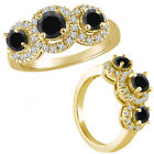 1.25 Carat Black Diamond Fancy 3 Stone Halo Promise Wedding Ring 14K Yellow Gold