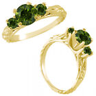 0.55 Carat Green Diamond Fancy 3 Stone Engagement Wedding Ring 14K Yellow Gold