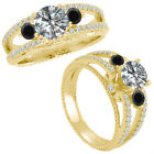 1.25 Carat G-H & Black Diamond Three Stone Eternity Bridal Ring 14K Yellow Gold