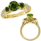 1.5 Carat Green Diamond Three Stone Wedding Promise Bridal Ring 14K Yellow Gold