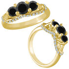 1.5 Carat Black Diamond 3 Stone Fancy Engagement Wedding Ring 14K Yellow Gold