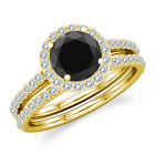 0.75 Carat Black Diamond Engagement Bridal Fancy Halo Ring Band 14K Yellow Gold