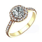 1.5 Carat GH Round Diamond Halo Solitaire Engagement Bridal Ring 14K Yellow Gold
