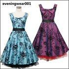 dress190 Blumen 50er Rockabilly Cocktail Abschlussball Brautjungfer Kleid 36 52
