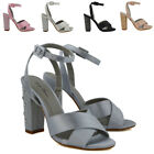 Womens Ankle Strap Satin Shoes Ladies Block Heel Diamante Prom Bridal Sandals