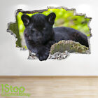 BLACK JAGUAR WALL STICKER 3D LOOK - BEDROOM LOUNGE NATURE WALL DECAL Z694