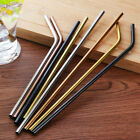 4PCS Stainless Steel Drinking Straws Straight Bent Reusable Filter With Brush