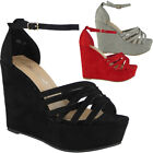 Womens Ladies Platform Peeptoe Party High Heel Wedding Shoes Wedge Sandals Sizes