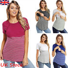Women Pregnant Maternity Clothes Nursing Top Stripe Breastfeeding T-Shirt Blouse