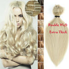 10-24Inch Real THICK Double Weft Clip In 100% Remy Human Hair Extensions 160g UK