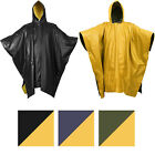 Внешний вид - Reversible Waterproof Rain Poncho High Visibility PVC Thick Outdoor Hood & Snaps
