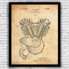 1920s Harley Davidson V-Twin Engine patent - wall art print (w/ optional frame) $19.9 USD on eBay