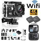 Action Camera 16MP 4K WiFi Waterproof Cam with Dual 2pcs Batteries+Travel Bag