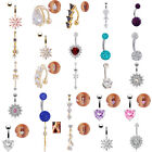 UK Belly Button Bars Body Piercing Ring Drop Dangly Reverse Silver Navel Bar