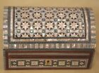 Egyptian handmade jewellery box inlaid with mother of pearl