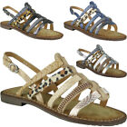 Womens Strappy Flats Ladies Slingback Summer Sandals Buckle Low Heel Shoes Size