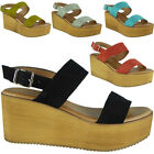 Womens Ladies Slingback Buckle Platform Shoes Mid Heel Wedge Sandals Size