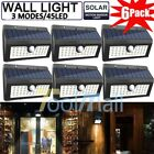6X 45 LED Solar Powered PIR Motion Sensor Light Outdoor Garden Security Lights