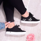 Womens Ladies Flat Trainer Pump Plimsoll Gems Lace Up Casual Glam Shoe Size