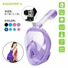 For GoPro 4 5 Easy Breath 180° Seaview Panoramic Full Face Snorkel Mask Anti Fog