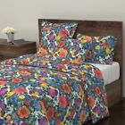 Mid Century Tropical Floral Retro Vintage Garden Sateen Duvet Cover by Roostery