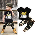 US Stock Casual Toddler Kids Baby Boys Tops T-shirt Camo Pants Outfits Clothes