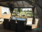 PARTY HOT TUB GAZEBO SHELTER C/W CURTAINS & MOSQUITO NETS POLYCARBONATE ROOF