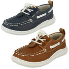 Clarks Boys Cloud Swing Tan Or Navy Leather Casual Shoes