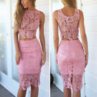 women club outfits - Women Lace Pink Bodycon Dress Party Club 2Piece Skirt +Crop Top Tank Set Outfit