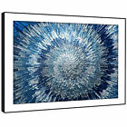 AB283 Blue Grey Spiral Cool Modern Abstract Framed Wall Art Large Picture Prints