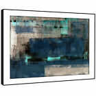 AB1628 Blue Grey Teal Cool Modern Abstract Framed Wall Art Large Picture Prints