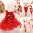 USA Stock Dog Cat Sequin Tutu Dress Lace Skirt Pet Puppy Wedding Party Clothes
