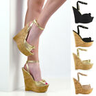 Womens Strappy Knot Two Party Wedge Heel Platform Sandals Ladies Peeptoe Shoes
