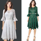 Womens Vintage Floral Lace Bell Sleeves Cocktail Party Flare Skater A-Line Dress