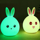 Cute Silicone Bunny LED Night Light USB Rechargeable Color Changing Baby Lamp