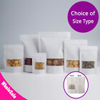 Many Sizes for White Kraft Paper Stand Up Zip Lock Bag w/ Clear Front Window M41