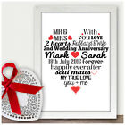 Personalised 2nd Wedding Anniversary Gifts For Her Him Second Anniversary Gifts