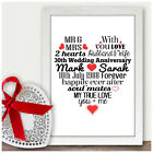 Personalised 30th Wedding Anniversary Gifts for Mum & Dad Parents Mr & Mrs