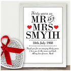 Personalised 30th Wedding Anniversary Gifts 30 Years As Mr & Mrs Couples Present