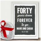 Personalised 40th Ruby Wedding Anniversary Gifts Chalkboard Style Presents