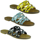 Womens Ladies Comfy Summer New Studded Sliders Flats Shoes Slip On Slippers Size