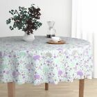 Round Tablecloth Hedgehog Animal Nature Cute Critter Floral Cotton Sateen