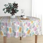 Round Tablecloth New York Water Tank Quirky Urban City Drawing Cotton Sateen