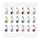 Navel Belly Bar - 1.6mm (14g) - 6mm - Double Gem - Stainless Steel - 18 Colours