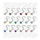 Nose Stud Screw - 0.8mm (20g) - 8mm - Single Gem - Stainless Steel - 18 Colours