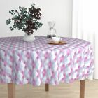 Round Tablecloth Ogee Purple Pink Damask Baubles Retro Holiday Cotton Sateen
