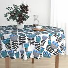 Round Tablecloth Mid Century Retro Floral Mid Century Floral Bold Cotton Sateen